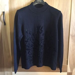 Vintage Black Beaded Crewneck Sweater